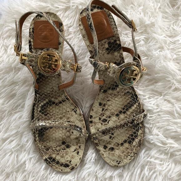 43f6c3f5ceeb Tory Burch Mira Snakeskin Kitten Heel Sandals. M 5a3a87e46bf5a659c504390d